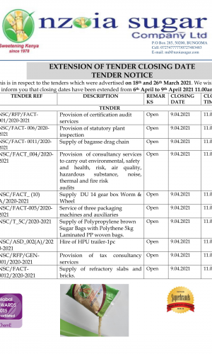 Extension of tender closing date